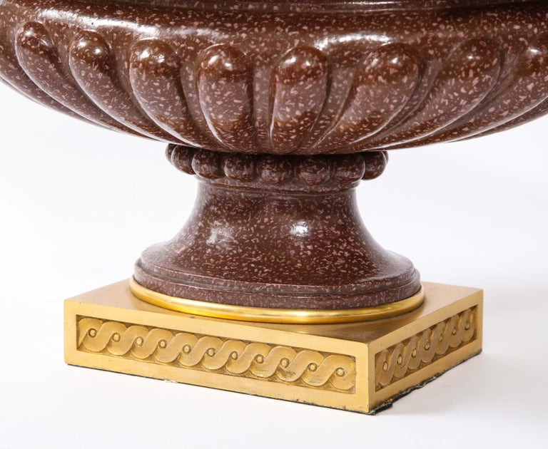 19th C French Dore Bronze Mtd Snake Handle & Faux Porphyry Porcelain Centerpiece For Sale 6