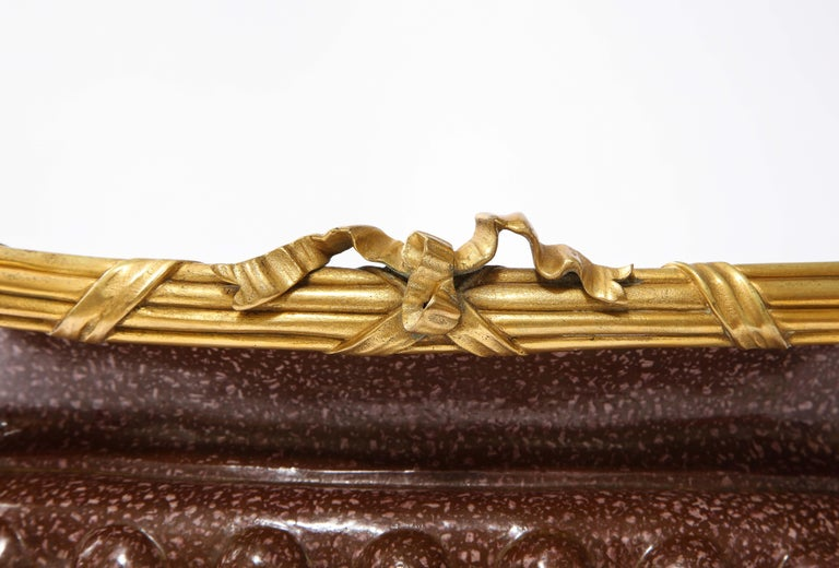 19th C French Dore Bronze Mtd Snake Handle & Faux Porphyry Porcelain Centerpiece For Sale 7