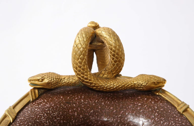19th C French Dore Bronze Mtd Snake Handle & Faux Porphyry Porcelain Centerpiece For Sale 8