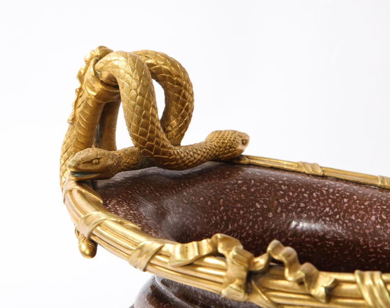 19th C French Dore Bronze Mtd Snake Handle & Faux Porphyry Porcelain Centerpiece For Sale 10