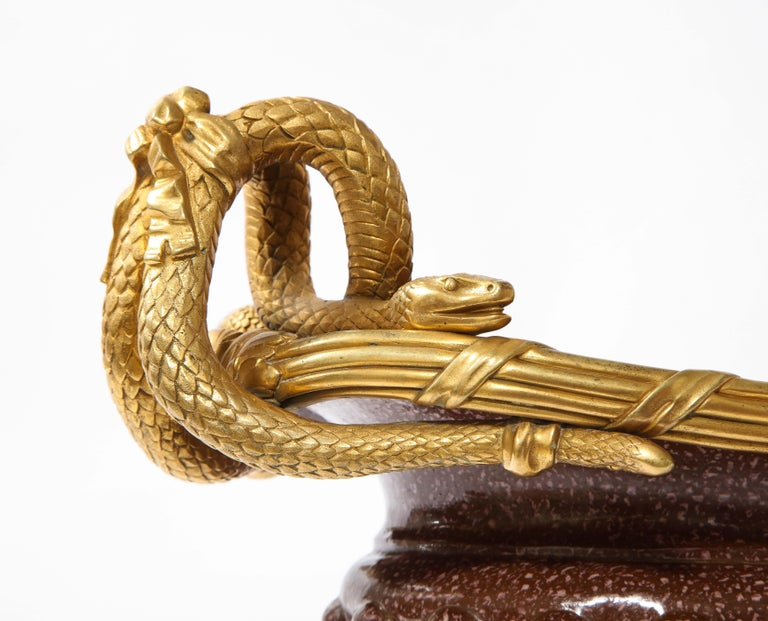 19th C French Dore Bronze Mtd Snake Handle & Faux Porphyry Porcelain Centerpiece For Sale 11