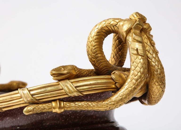 19th C French Dore Bronze Mtd Snake Handle & Faux Porphyry Porcelain Centerpiece For Sale 12