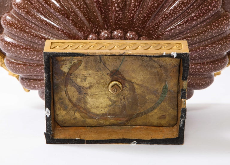 19th C French Dore Bronze Mtd Snake Handle & Faux Porphyry Porcelain Centerpiece For Sale 14