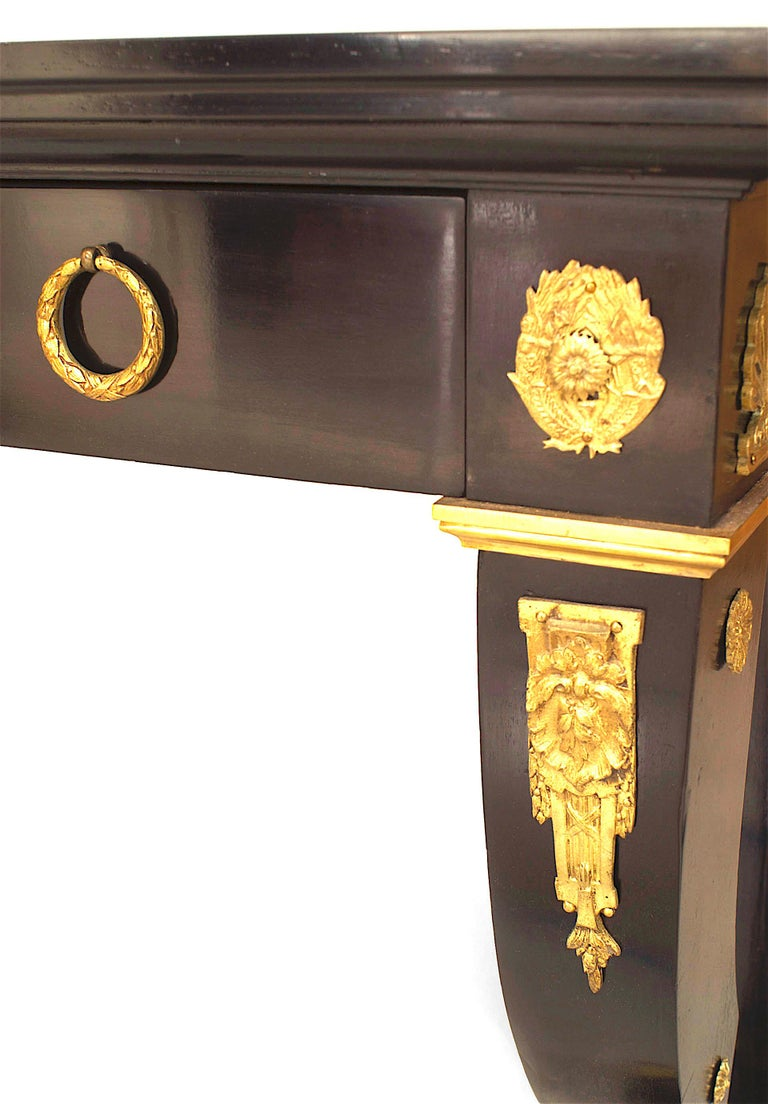 Gold Leaf 19th Century French Empire Desk, in the Manner of Jacob Desmalter For Sale