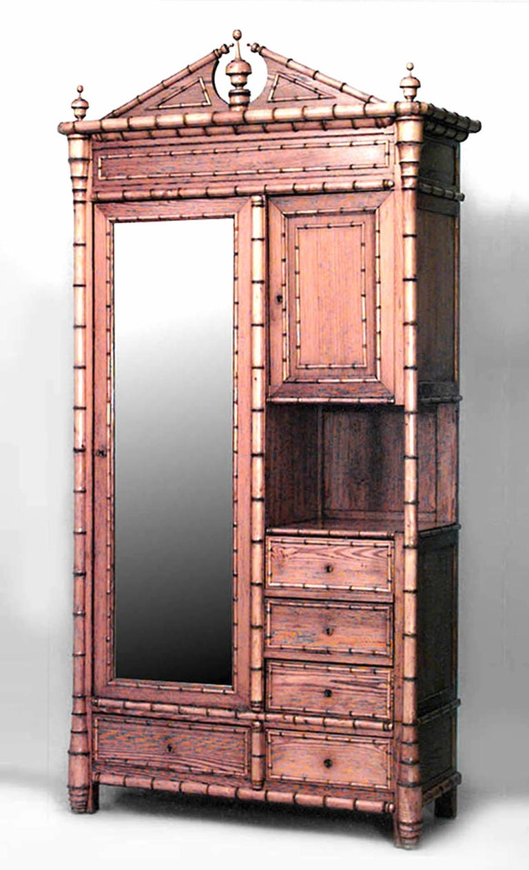 19th c. French Faux Bamboo Armoire Cabinet For Sale at 1stdibs