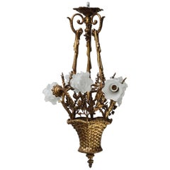 19th C. French Gilt Bronze Basket with Glass Roses, Marie Antoinette Chandelier