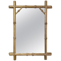 19th Century, French Giltwood Faux Bamboo Mirror