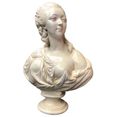 19th Century Glazed Terracotta Bust of Countess du Barry after Augustin Pajou