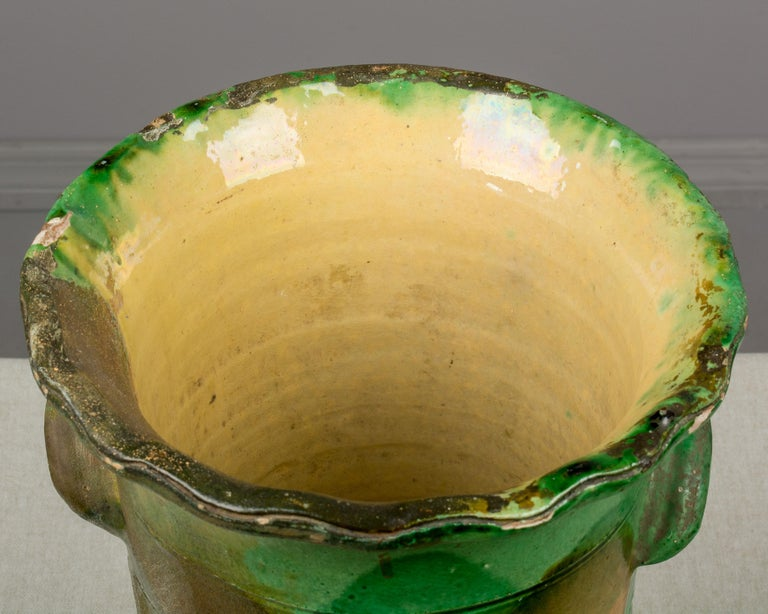 19th Century French Green Glazed Terracotta Pot 6