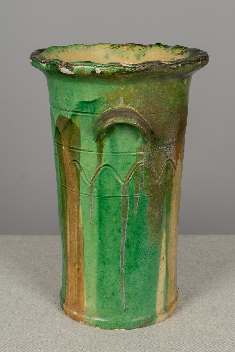 French Provincial 19th Century French Green Glazed Terracotta Pot