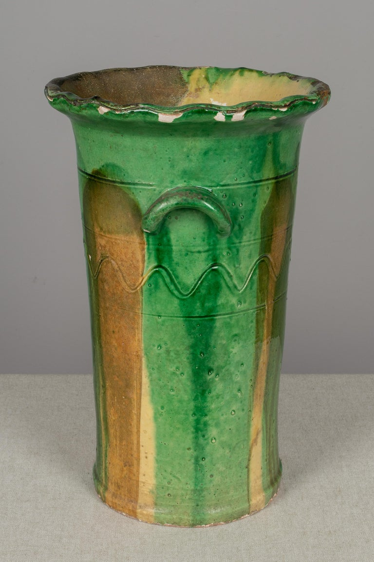 19th Century French Green Glazed Terracotta Pot In Good Condition In Winter Park, FL