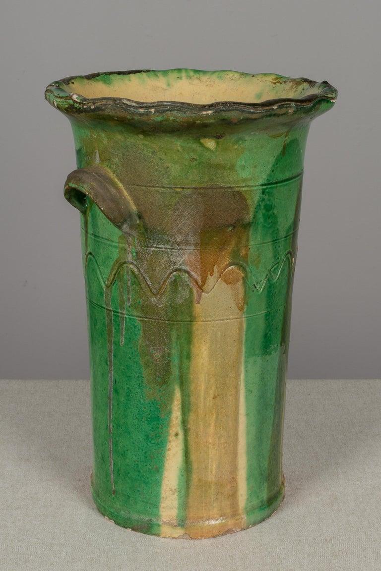 19th Century French Green Glazed Terracotta Pot 2
