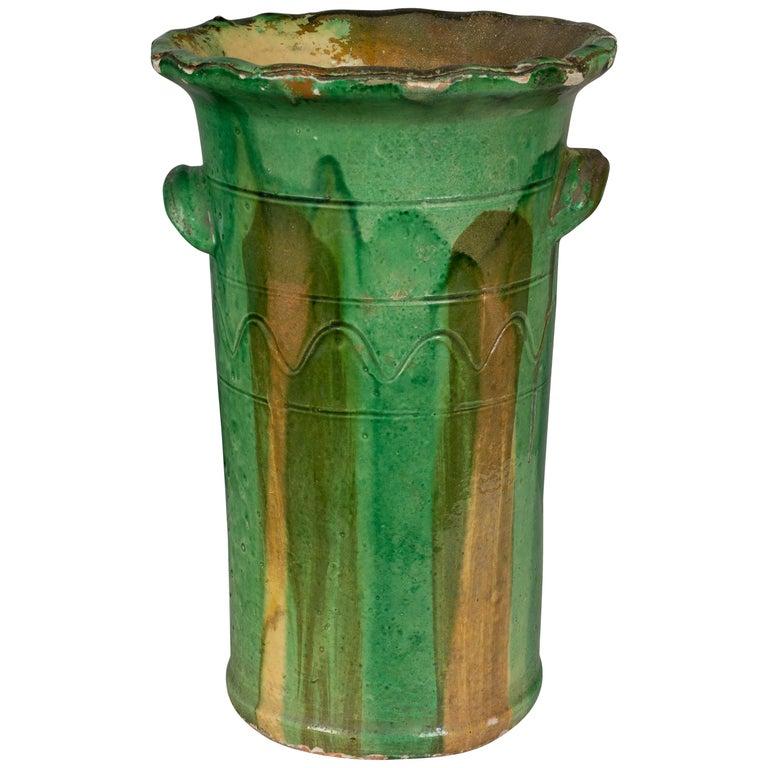 19th Century French Green Glazed Terracotta Pot