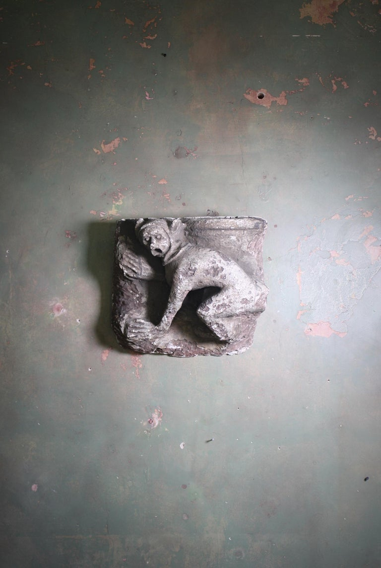 French Grotesque Medieval Plaster Releif of Monkey Architectural Fragment For Sale 7