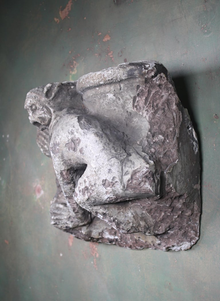 French Grotesque Medieval Plaster Releif of Monkey Architectural Fragment For Sale 8