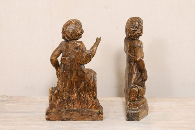 19th C. French Hand-Carved Wood Cherub Figures, Beautiful Decorative Objects For Sale 6