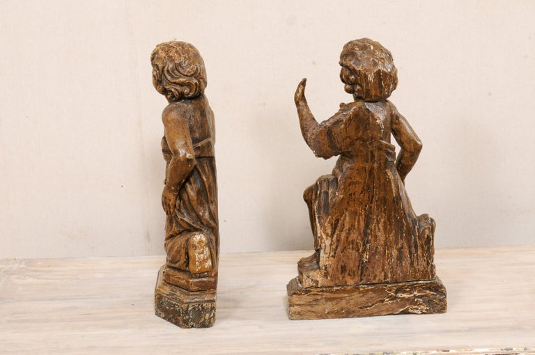 19th C. French Hand-Carved Wood Cherub Figures, Beautiful Decorative Objects For Sale 7