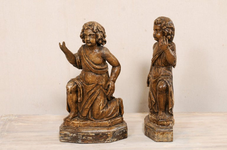 19th C. French Hand-Carved Wood Cherub Figures, Beautiful Decorative Objects In Good Condition For Sale In Atlanta, GA