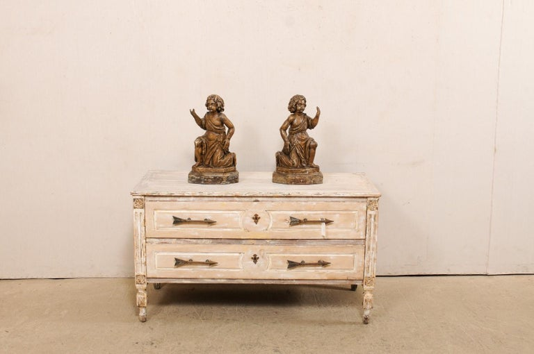 19th Century 19th C. French Hand-Carved Wood Cherub Figures, Beautiful Decorative Objects For Sale