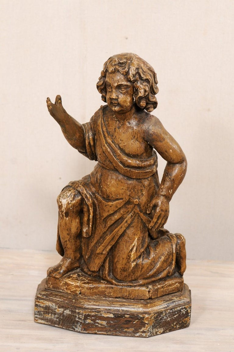19th C. French Hand-Carved Wood Cherub Figures, Beautiful Decorative Objects For Sale 1
