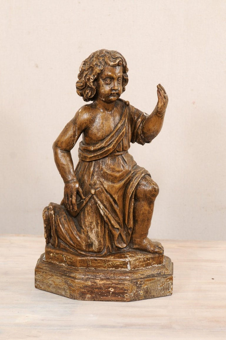 19th C. French Hand-Carved Wood Cherub Figures, Beautiful Decorative Objects For Sale 2