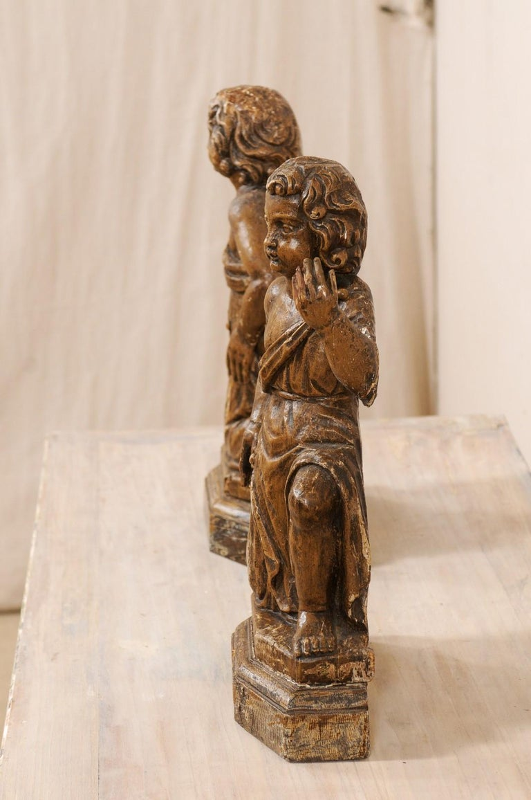 19th C. French Hand-Carved Wood Cherub Figures, Beautiful Decorative Objects For Sale 3
