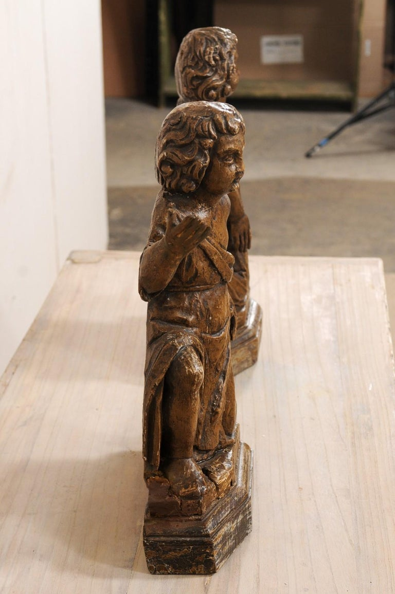 19th C. French Hand-Carved Wood Cherub Figures, Beautiful Decorative Objects For Sale 4