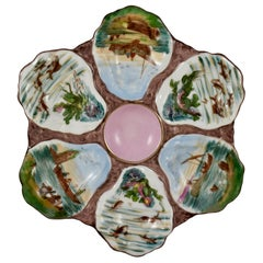 19th Century French Hand Painted Porcelain Fishing Scenes Six-Well Oyster Plate