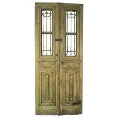 19th Century French Iron and Wood Doors, Pair