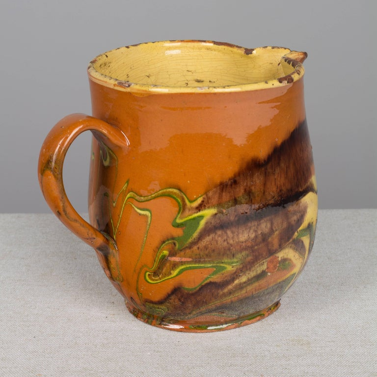 Glazed 19th Century French Jaspe Pitcher For Sale