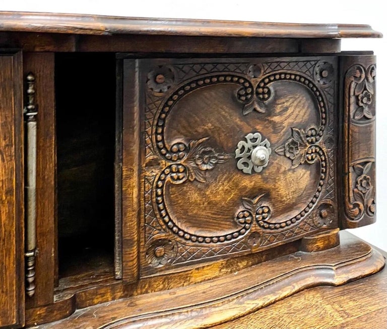 French Provincial 19th-C. French Louis XV Style Carved Oak Cabinet or Buffet / Sideboard For Sale