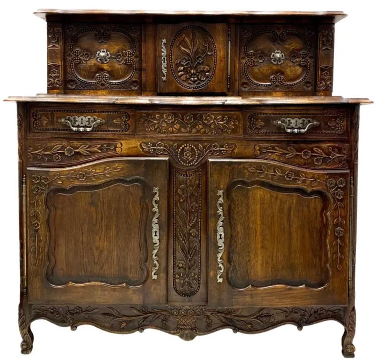19th-C. French Louis XV Style Carved Oak Cabinet or Buffet / Sideboard For Sale 1