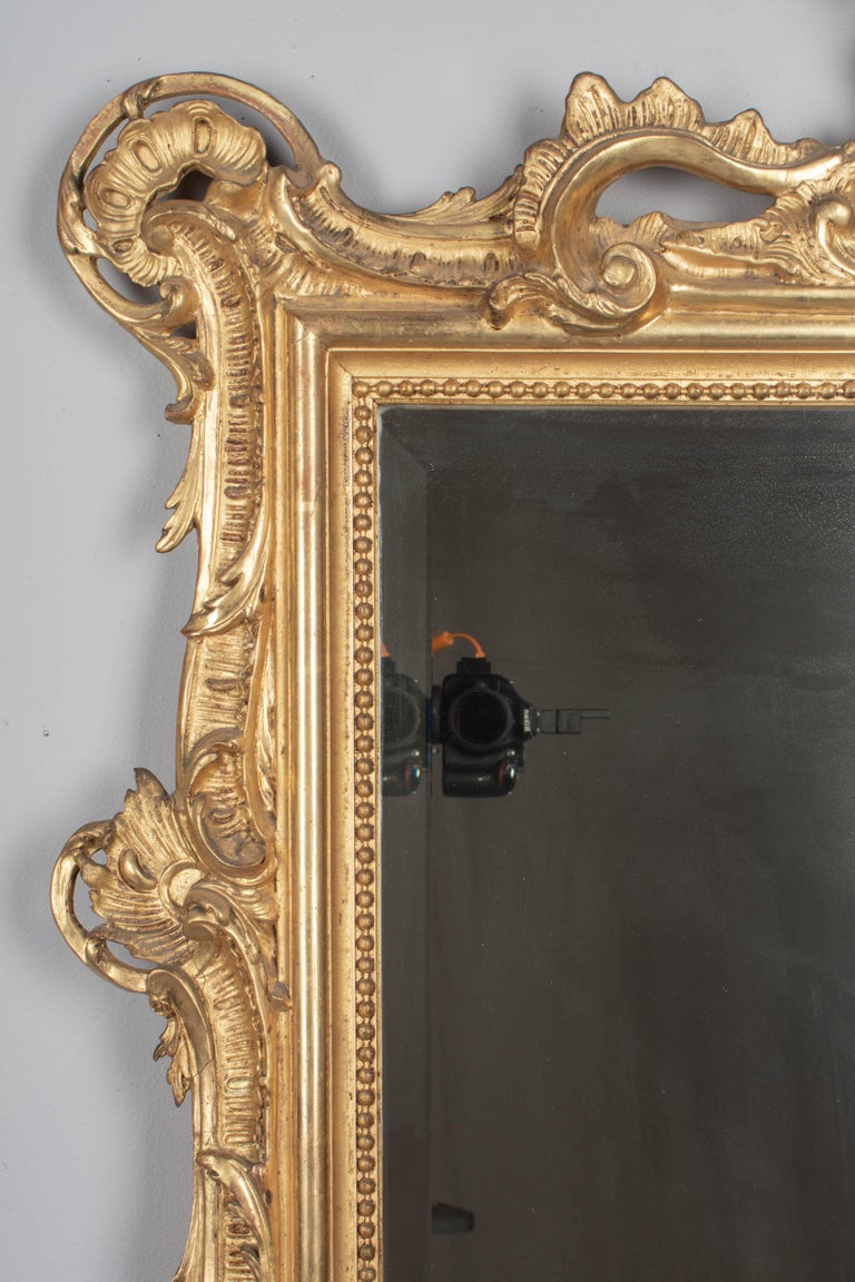 Gilt 19th Century French Louis XV Style Gilded Mirror For Sale