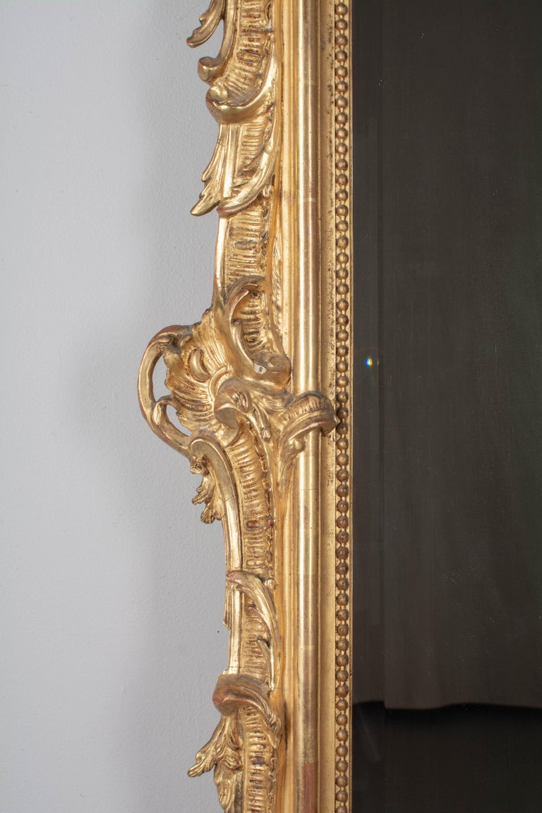 Gesso 19th Century French Louis XV Style Gilded Mirror For Sale