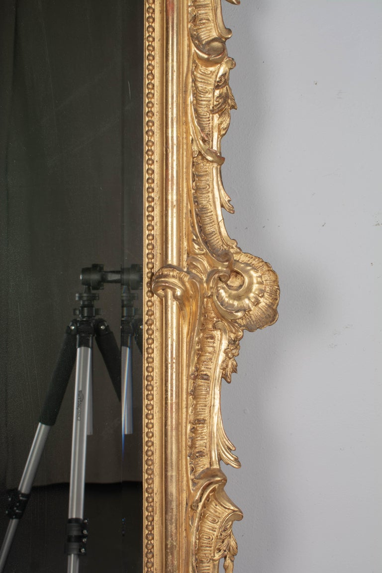 19th Century French Louis XV Style Gilded Mirror For Sale 1