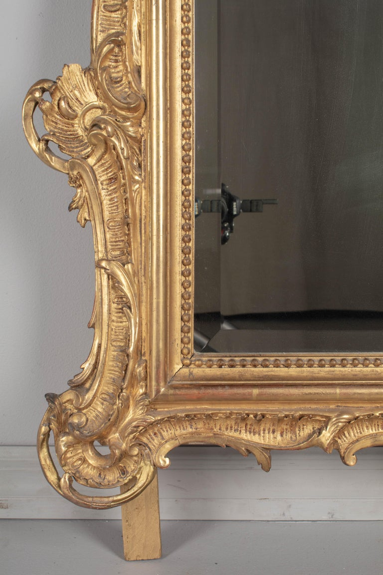 19th Century French Louis XV Style Gilded Mirror For Sale 2