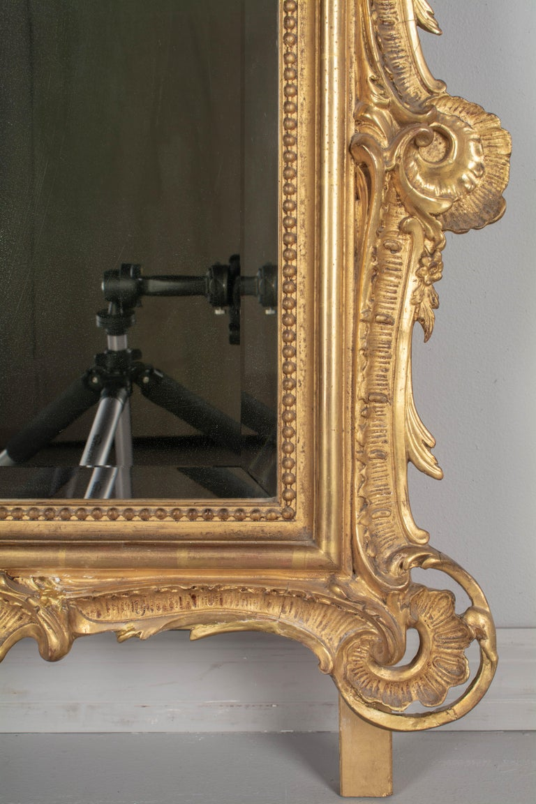 19th Century French Louis XV Style Gilded Mirror For Sale 3
