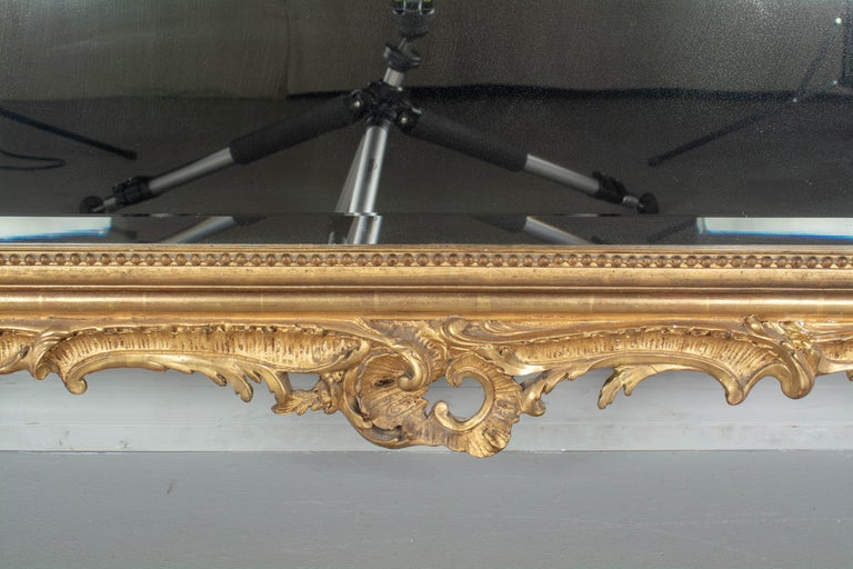 19th Century French Louis XV Style Gilded Mirror For Sale 4