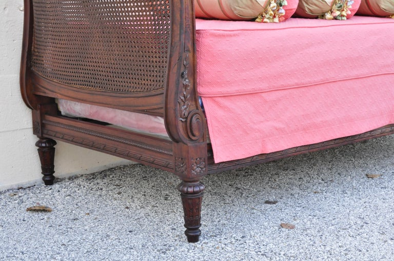 French Louis XVI Carved Walnut & Cane Daybed Sofa with Custom Mattress For Sale 6