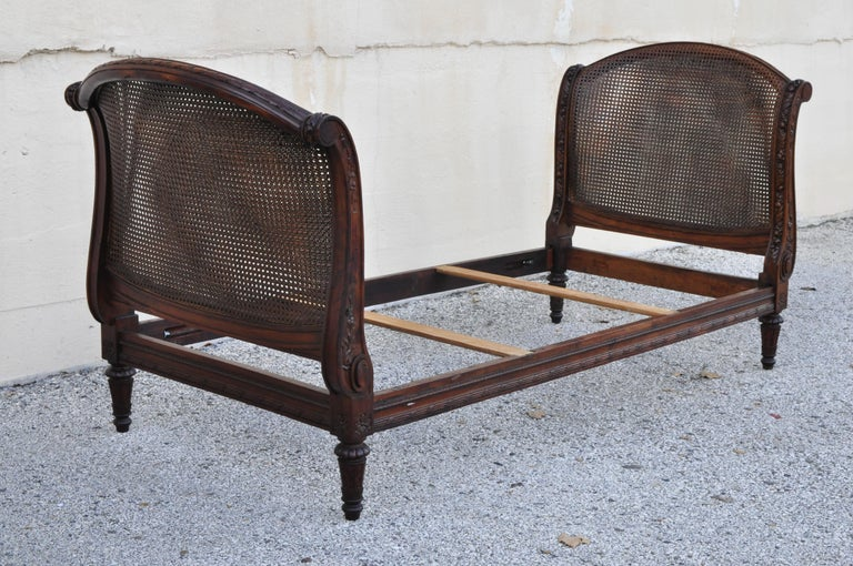 French Louis XVI Carved Walnut & Cane Daybed Sofa with Custom Mattress For Sale 7
