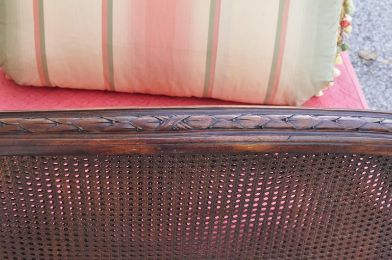 French Louis XVI Carved Walnut & Cane Daybed Sofa with Custom Mattress For Sale 4