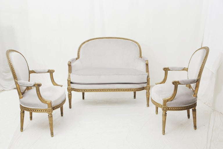 19th Century French Louis XVI Style Carved Giltwood and Pale Grey Seating Suite For Sale 11