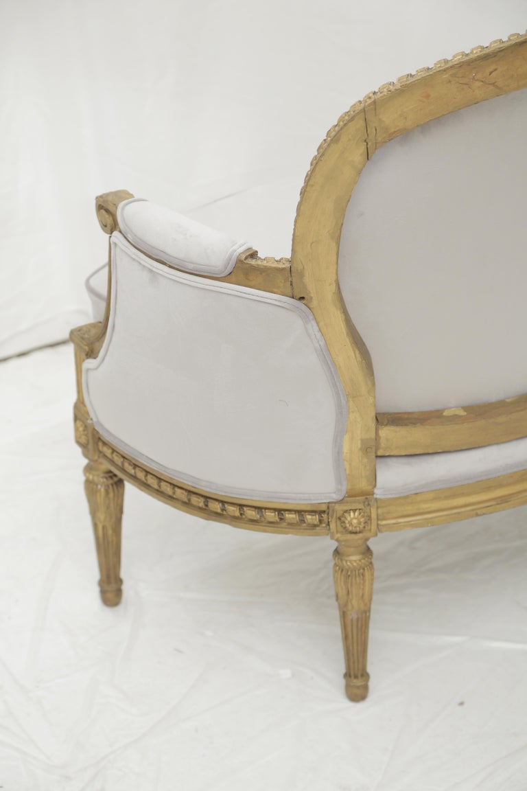19th Century French Louis XVI Style Carved Giltwood and Pale Grey Suede Loveseat For Sale 3