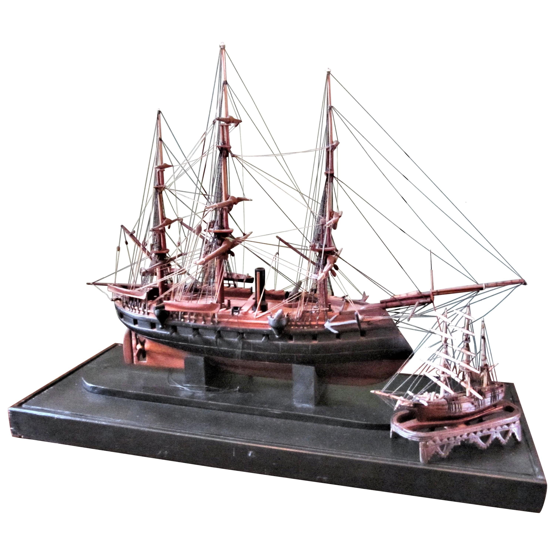 French Model Carved Battle Ship & Miniature Decorative Sculpture Antiques LA CA