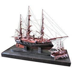 French Model Battle Ship with a Miniature Decorative Sculpture Antique LA