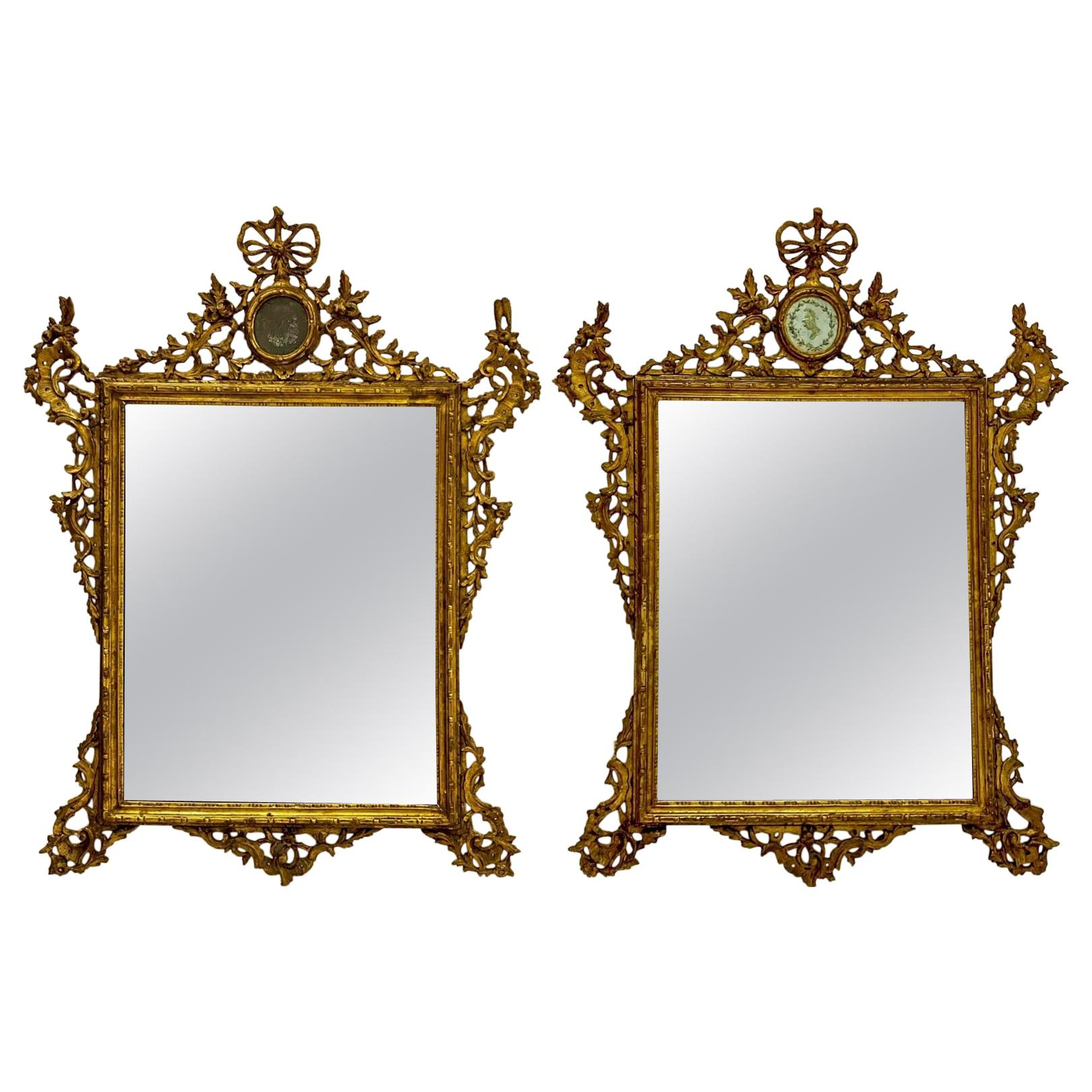 19th Century French Neoclassical Carved Giltwood Mirrors, a Pair