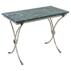 19th-C French Neo-Classical Style Marble and Iron Garden Console Table