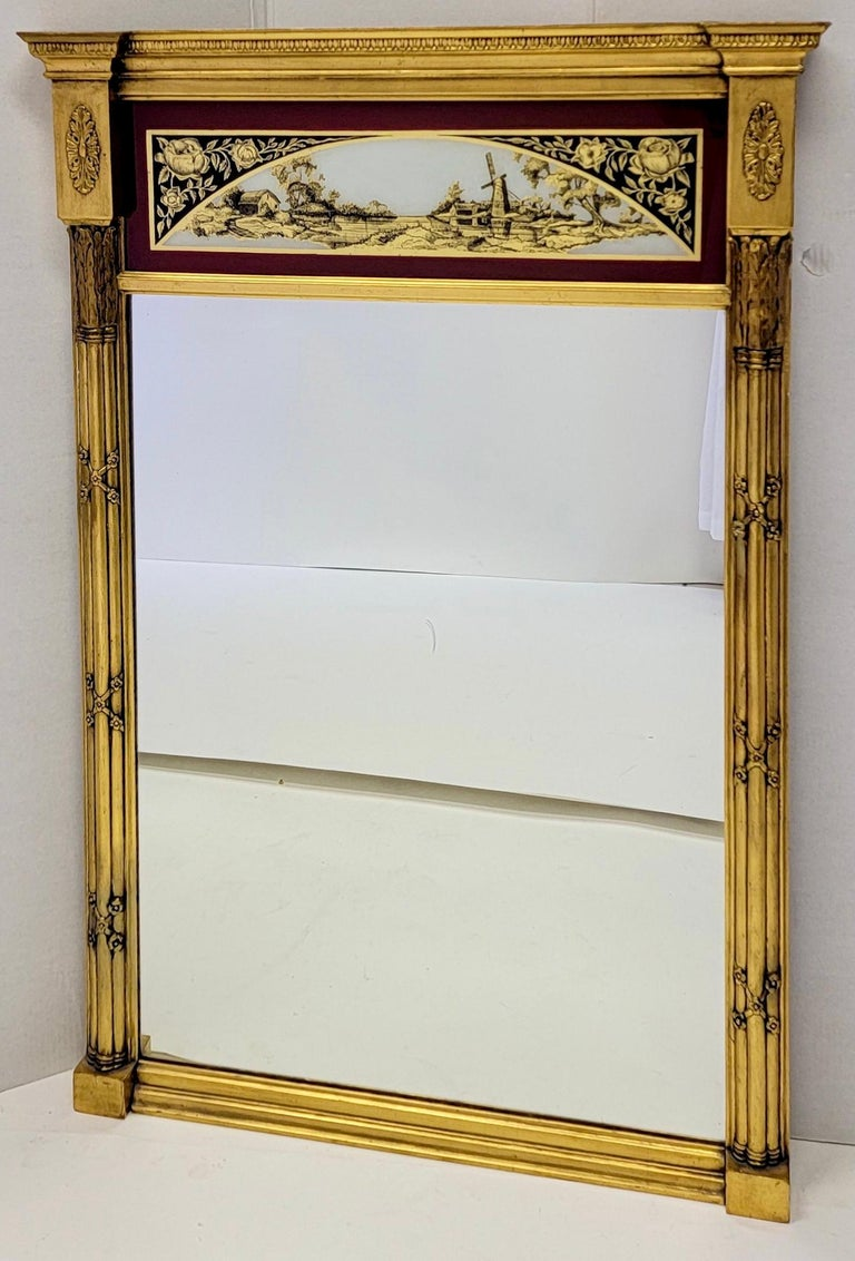 19th C. French Neoclassical Water Gilt Eglomise Trumeau Mirror In Good Condition For Sale In Kennesaw, GA
