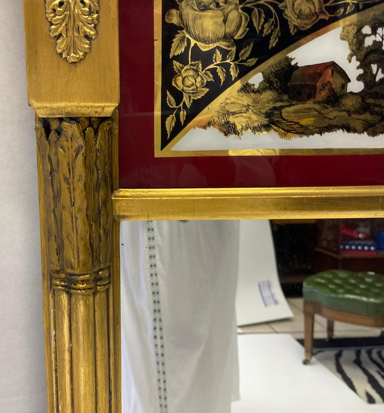 Glass 19th C. French Neoclassical Water Gilt Eglomise Trumeau Mirror For Sale