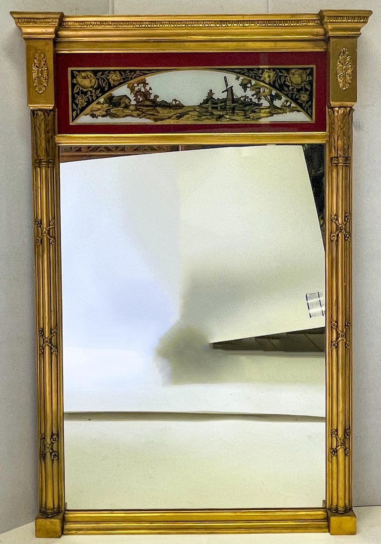 19th C. French Neoclassical Water Gilt Eglomise Trumeau Mirror For Sale 2